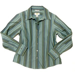 TALBOTS Wrinkle resistant green striped blouse, 4P